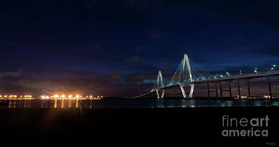 Photograph - Arthur Ravenel Night Pano by Jennifer White