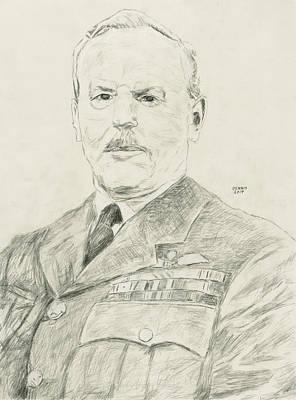 Raf Drawing - Arthur Tedder by Dennis Larson