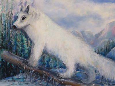 Art Print featuring the painting Artic Fox by Bernadette Krupa