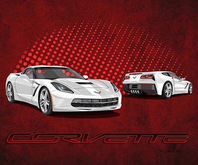 Gm Painting - Artic White - C7 Stingray Corvette by Rudy Edwards