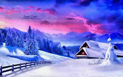Park Scene Digital Art - Artic Winter  - Monet Style -  - Da by Leonardo Digenio