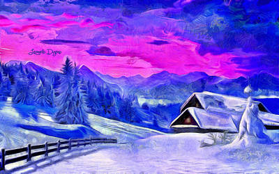 Alps Digital Art - Artic Winter  - Van Gogh Style -  - Da by Leonardo Digenio