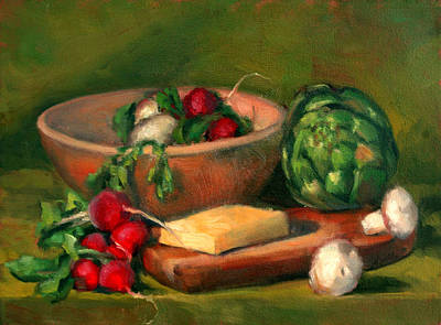 Artichoke Painting - Artichoke And Radishes by Athena  Mantle