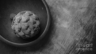 Artichoke Photograph - Artichoke Black And White Still Life Three by Edward Fielding