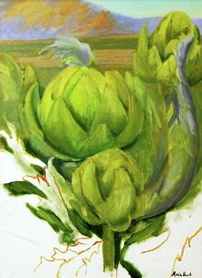 Artichoke Painting - Artichoke  Unfinished by Maria Hunt
