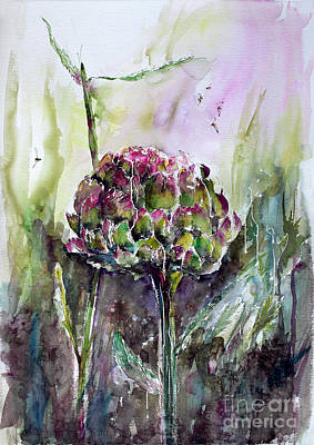 Painting - Artichoke Watercolor And Ink By Ginette by Ginette Callaway