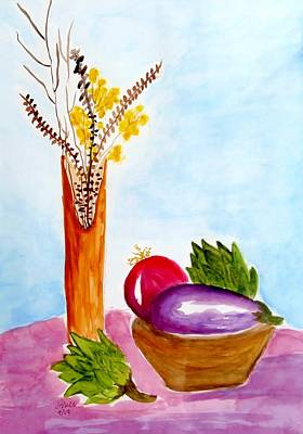 Painting - Artichokes And Eggplant by Jamie Frier
