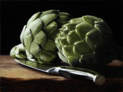 Painting - Artichokes And Knife by Michael Lynn Adams