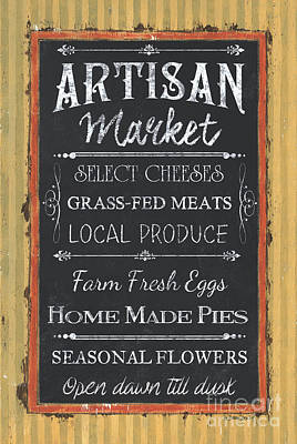 Farmers Market Painting - Artisan Market Sign by Debbie DeWitt