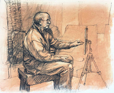 Drawing - Artist At Work by Roz McQuillan