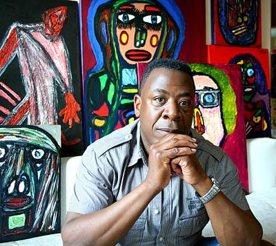 Photograph - Artist Darrell Urban Black Surrounded By His Artwork  by Darrell Black