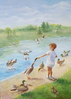 Wood Duck Painting - Aaron Feeding The Ducks by Dorothy Weichenthal