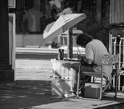 Photograph - Artist - French Quarter - New Orleans - B/w 1b by Greg Jackson