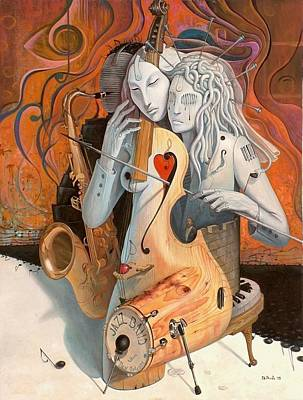 Surrealist Painting - Artist In Love by Adrian Borda