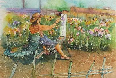 Painting - Artist In The Iris Garden by Carol Losinski Naylor