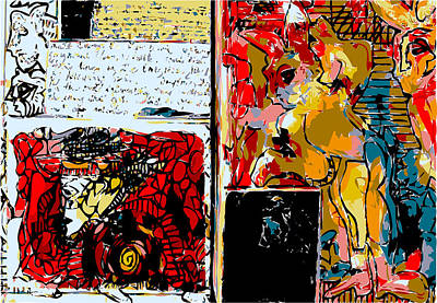Xerox Art Mixed Media - Artist Journal Page With Rabbits And Writing by F Burton