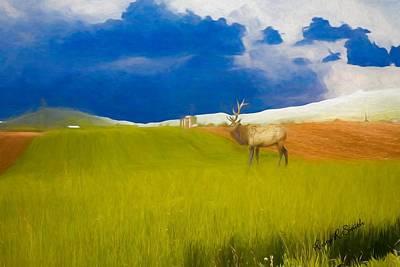 Digital Art - Artist Perspective Of Pa. Bull Elk In Farm Landscape. by Rusty R Smith