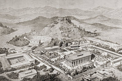 Reconstruction Drawing - Artist S Impression Of Olympia, Greece by Vintage Design Pics
