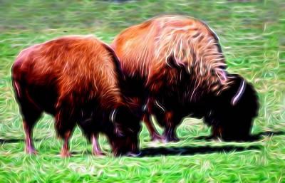 Bison Digital Art - Artistic American Bison by Linda Phelps
