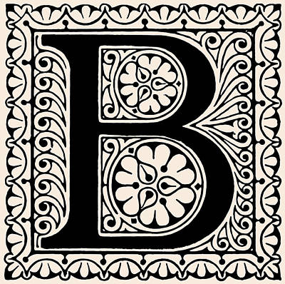 Digital Art - Artistic Ancient Alphabet Letter B by Georgiana Romanovna