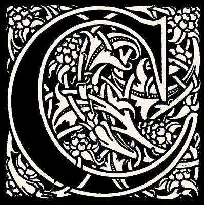 Digital Art - Artistic Ancient Alphabet Letter C by Georgiana Romanovna