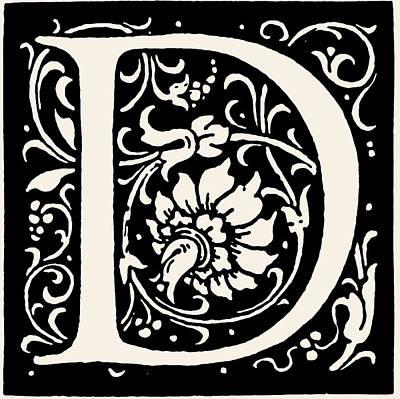 Digital Art - Artistic Ancient Alphabet Letter D by Georgiana Romanovna