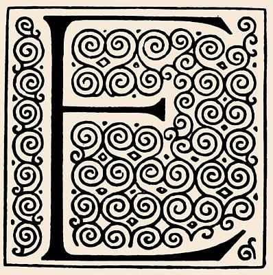 Digital Art - Artistic Ancient Alphabet Letter E by Georgiana Romanovna