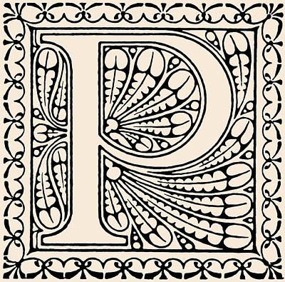 Digital Art - Artistic Ancient Alphabet Letter P by Georgiana Romanovna