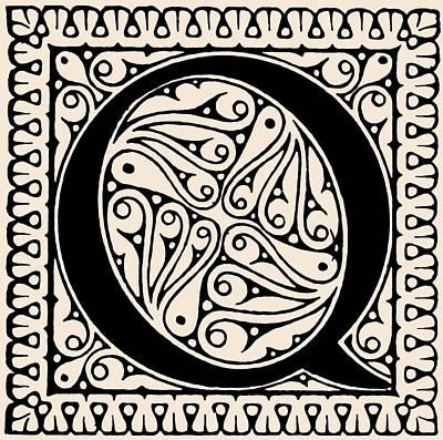 Digital Art - Artistic Ancient Alphabet Letter Q by Georgiana Romanovna