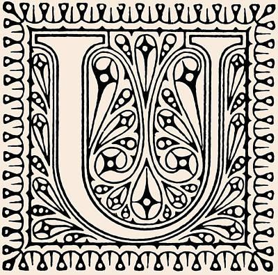 Digital Art - Artistic Ancient Alphabet Letter U by Georgiana Romanovna