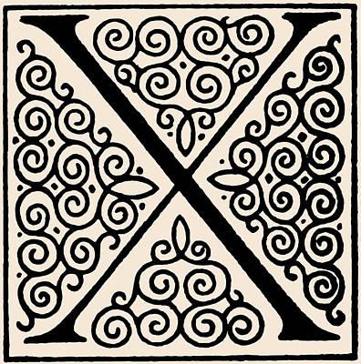 Digital Art - Artistic Ancient Alphabet Letter X by Georgiana Romanovna