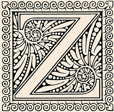 Digital Art - Artistic Ancient Alphabet Letter Z by Georgiana Romanovna