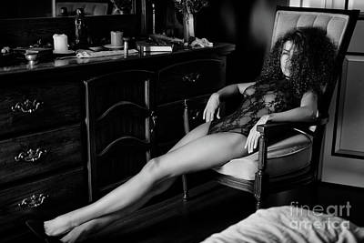 Artistic Nude Photograph - Artistic Boudoir Black And White Portrait Of Sexy Woman Sitting  by Awen Fine Art Prints