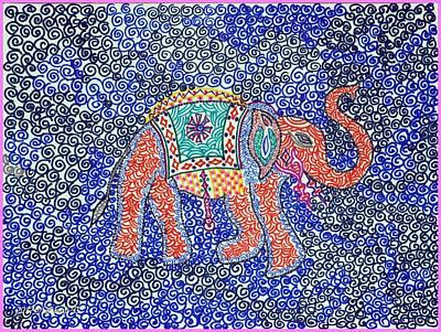 Animals Drawings - Artistic Elephant by Sonali Gangane