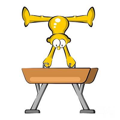 Artistic Gymnastics Athlete In Pommel Horse Art Print