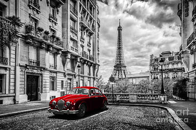 Photograph - Artistic Paris, France. Eiffel Tower Seen From The Street With Red Retro Limousine Car by Michal Bednarek