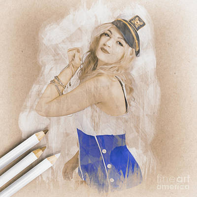 Watercolour Photograph - Artistic Pencil Drawing Of A Sailor Pinup Woman by Jorgo Photography - Wall Art Gallery