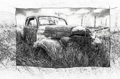 Photograph - Artistic Rendition Of Abandoned Auto In The Ghost Town By Okaton South Dakota by Randall Nyhof