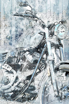 Mechanical Mixed Media - Artistic Ride Blue by Melissa Smith