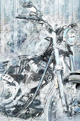 Headlight Mixed Media - Artistic Ride Blue by Melissa Smith
