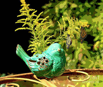 Photograph - Artistic Teal Bird And Butterflies by Luana K Perez