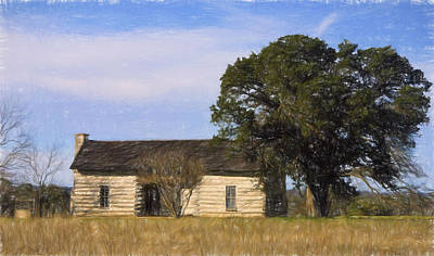 Artistic Texas Log Cabin  Original by Linda Phelps