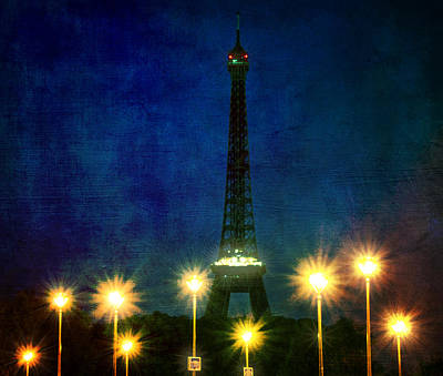 Photograph - Artistic Version Of Eiffel Tower And Lamp Posts by Vicki Jauron