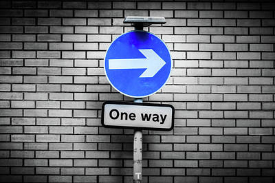 Photograph - Artistic Vision Of Blue Circular Sign White Direction Arrow by Jacek Wojnarowski