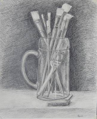Drawing - Artist's Brushes by Grace Diehl