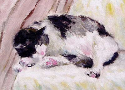 Artist's Cat Sleeping Art Print