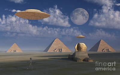Ancient Civilization Digital Art - Artists Concept Of Grey Aliens Helping by Mark Stevenson