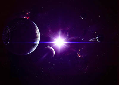 Planetary System Digital Art - Artists Concept Of Jovian Planets by Kevin Lafin