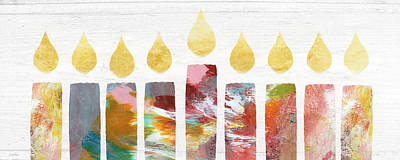 Candle Lit Painting - Artists Menorah- Art By Linda Woods by Linda Woods