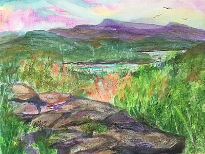 Painting - Sunset Rock And North South Lake  by Ellen Levinson